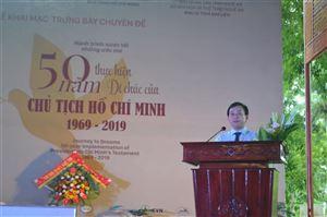"""Khai mạc trưng bày chuyên đề """"Hành trình vươn tới những ước mơ - 50 năm thực hiện Di chúc của Chủ tịch Hồ Chí Minh (1969 - 2019)"""" tại Khu Di tích Kim Liên, Nghệ An"""