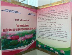 """Bảo tàng Hồ Chí Minh – chi nhánh Thành phố Hồ Chí Minh phối hợp với Học viện Cán bộ TP. Hồ Chí Minh tổ chức triển lãm: """"Chủ tịch Hồ Chí Minh – Người sáng lập và rèn luyện Đảng Cộng sản Việt Nam""""."""
