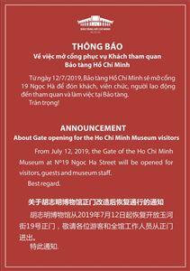 Thông báo về việc mở cổng phục vụ khách tham quan Bảo tàng Hồ Chí Minh