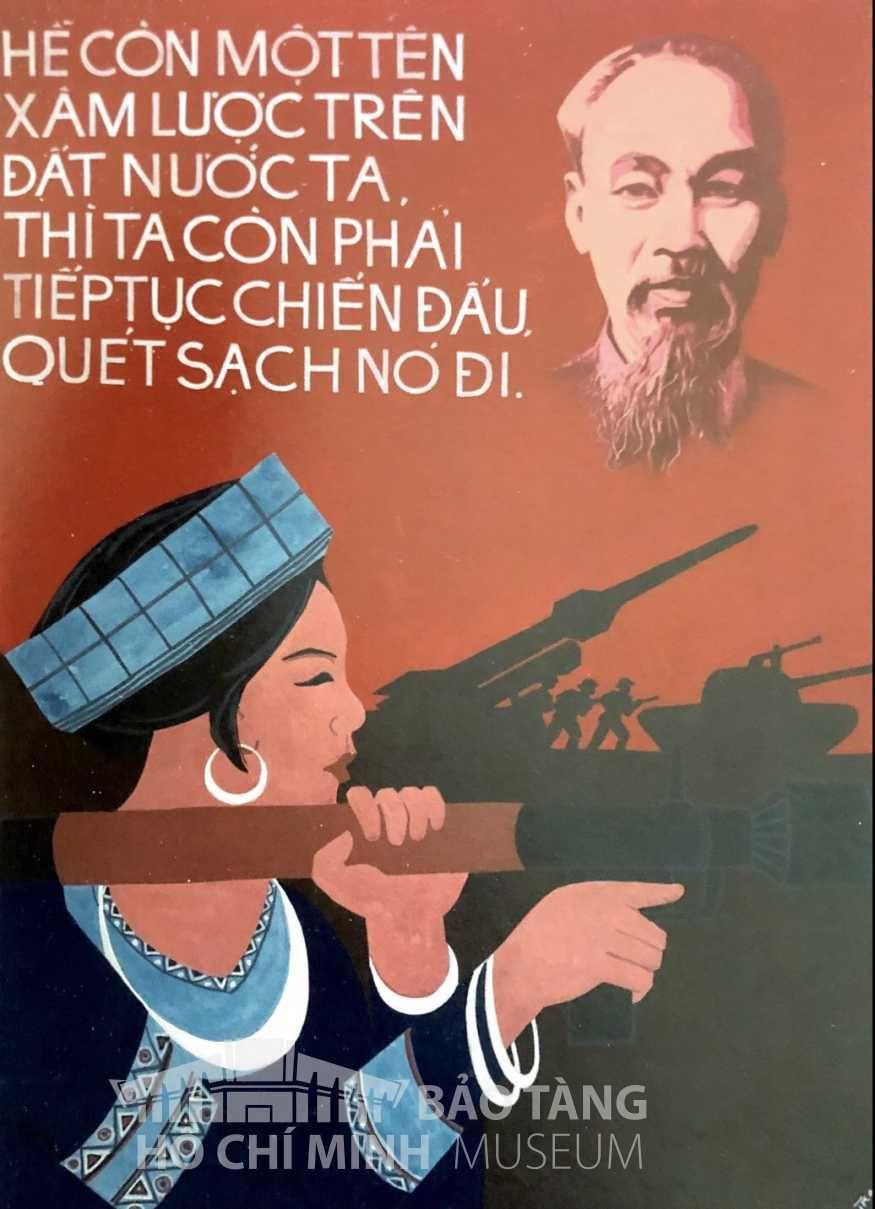 Tranh: Nguyễn Nùng Bột màu Nguồn: Bảo tàng Hồ Chí Minh