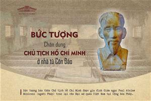 Bức tượng chân dung Chủ tịch Hồ Chí Minh ở Nhà tù Côn Đảo