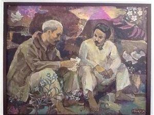 """Họa sĩ Nguyễn Trọng Hiệp: """"Bác Hồ với Hoàng thân Xuphanuvông""""- Cảm xúc vẽ tranh đến với tôi từ sau chuyến đi Lào"""