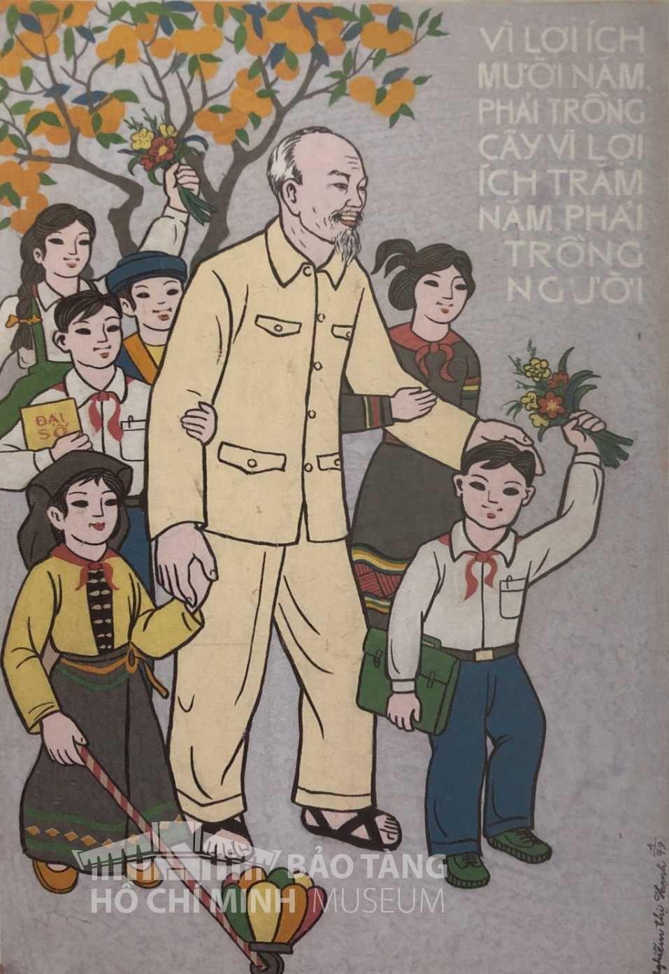 Tranh: Nghiêm Thị Hạnh Bột màu, 1979 Nguồn: Bảo tàng Hồ Chí Minh